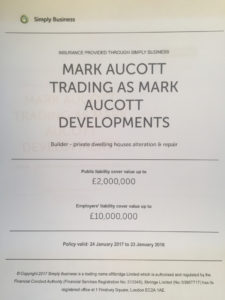 Mark Aucott Developments Public Liability Insurance Document